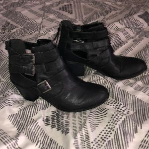 G by Guess black moto ankle booties
